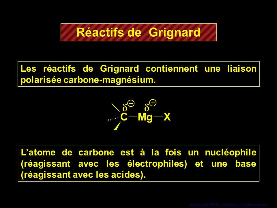 10 Copyright© 2005, D. Blondeau. All rights reserved. Les réactifs de Grignard contiennent une liaison polarisée carbone-magnésium. Les réactifs de Gr
