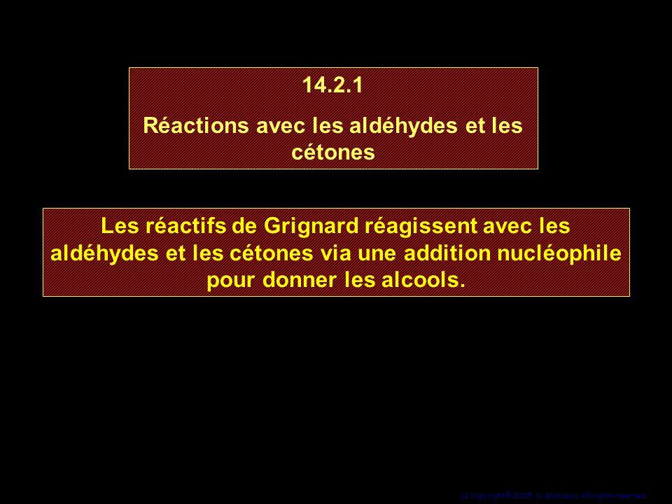 12 Copyright© 2005, D. Blondeau. All rights reserved. Les réactifs de Grignard réagissent avec les aldéhydes et les cétones via une addition nucléophi