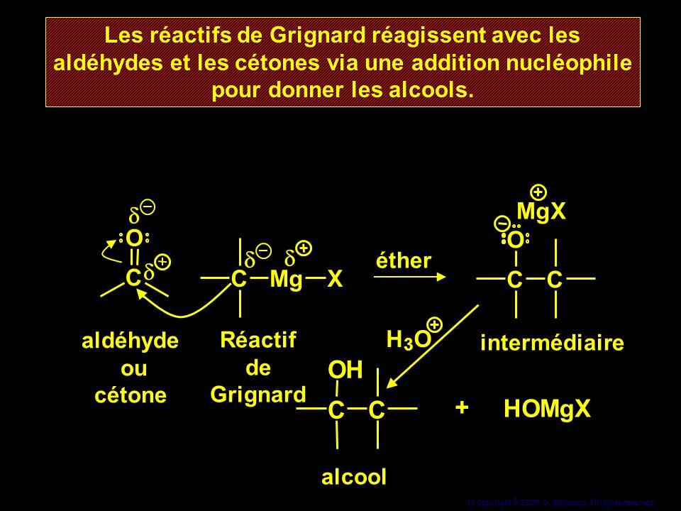 13 Copyright© 2005, D. Blondeau. All rights reserved. aldéhyde ou cétone CC O MgX alcool intermédiaire Réactif de Grignard Les réactifs de Grignard ré
