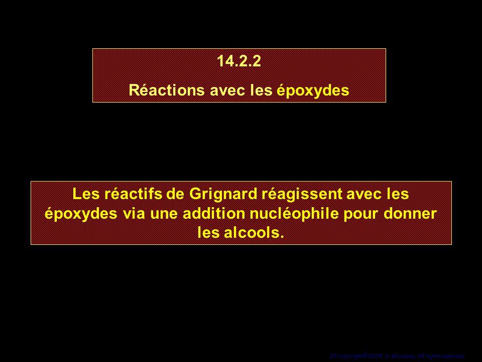 27 Copyright© 2005, D. Blondeau. All rights reserved. 14.2.2 Réactions avec les époxydes 14.2.2 Réactions avec les époxydes Les réactifs de Grignard r