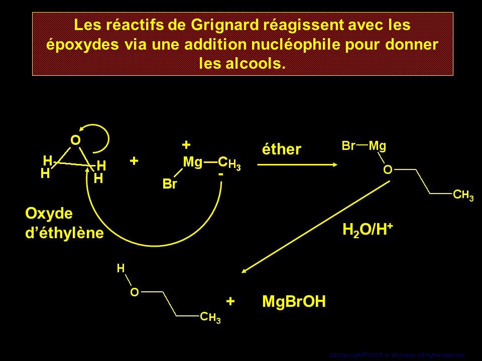 28 Copyright© 2005, D. Blondeau. All rights reserved. Les réactifs de Grignard réagissent avec les époxydes via une addition nucléophile pour donner l