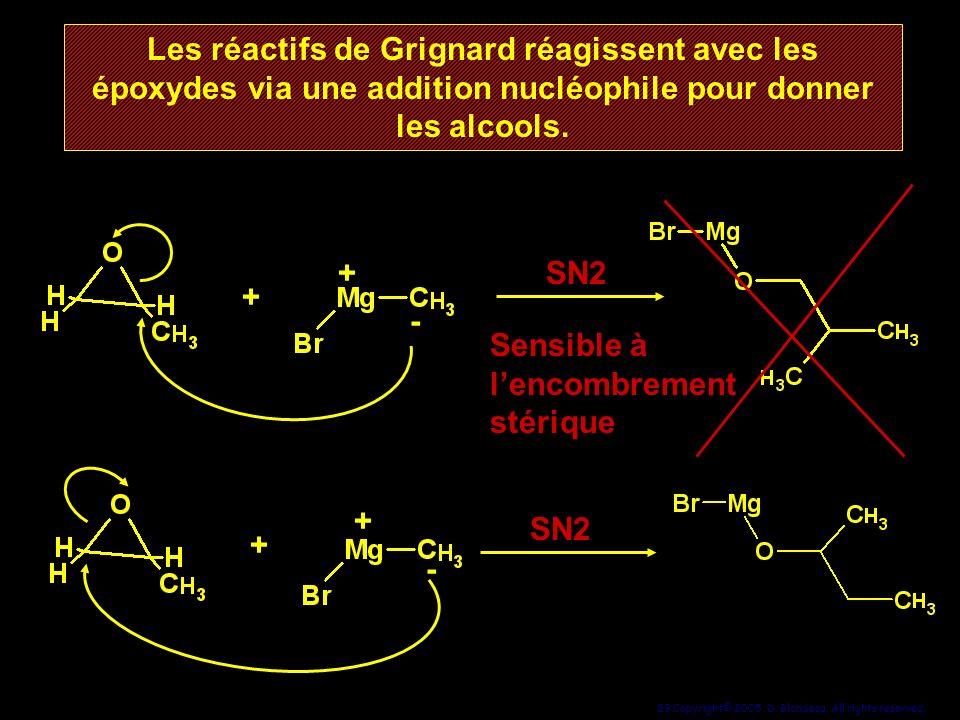 29 Copyright© 2005, D. Blondeau. All rights reserved. Les réactifs de Grignard réagissent avec les époxydes via une addition nucléophile pour donner l