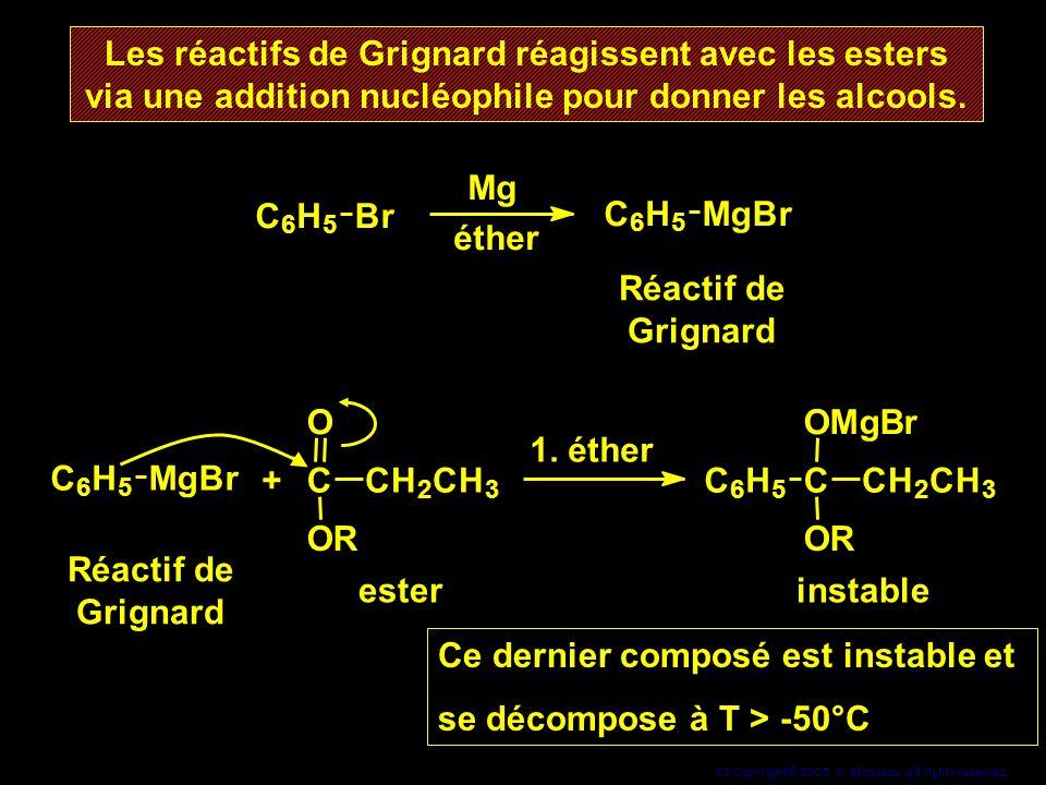 32 Copyright© 2005, D. Blondeau. All rights reserved. Les réactifs de Grignard réagissent avec les esters via une addition nucléophile pour donner les