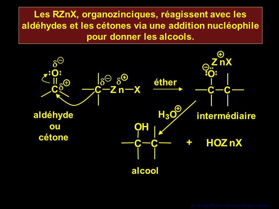 50 Copyright© 2005, D. Blondeau. All rights reserved. Les RZnX, organozinciques, réagissent avec les aldéhydes et les cétones via une addition nucléop