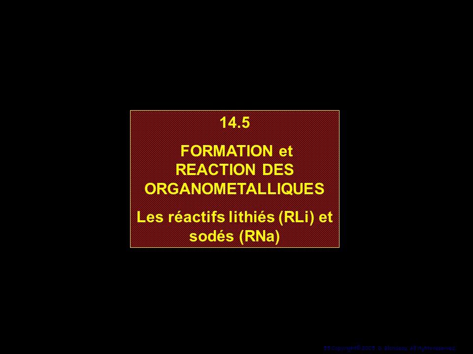 55 Copyright© 2005, D. Blondeau. All rights reserved. 14.5 FORMATION et REACTION DES ORGANOMETALLIQUES Les réactifs lithiés (RLi) et sodés (RNa) 14.5