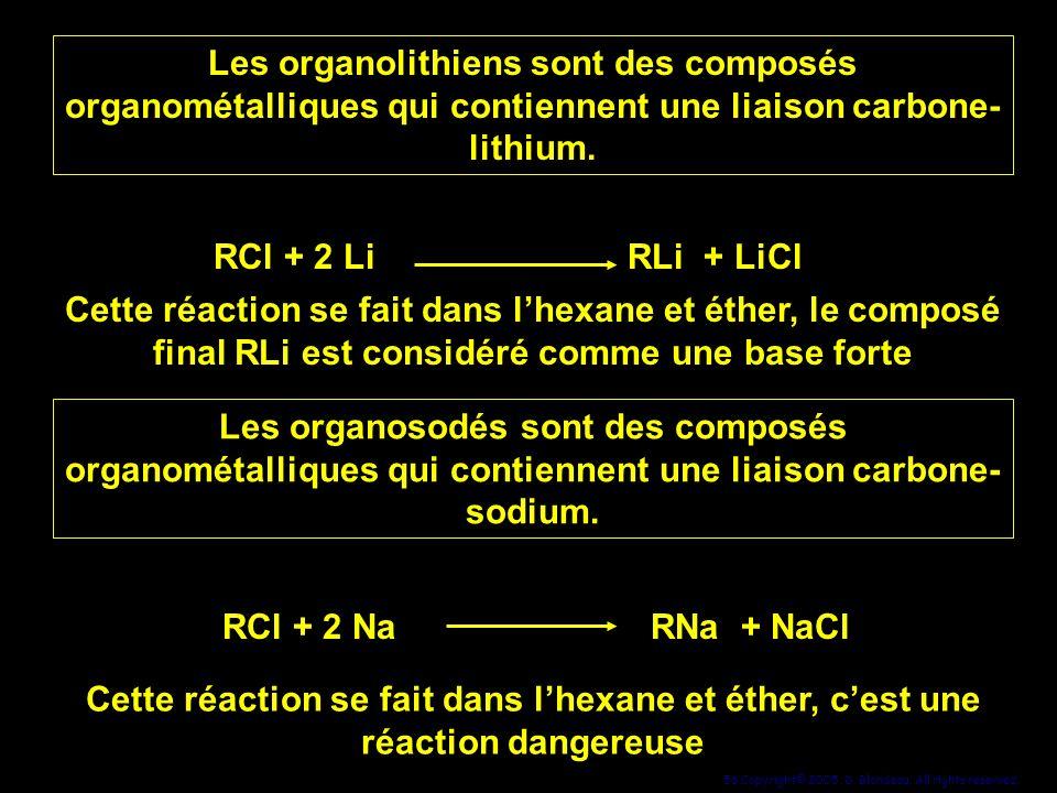 56 Copyright© 2005, D. Blondeau. All rights reserved. Les organolithiens sont des composés organométalliques qui contiennent une liaison carbone- lith