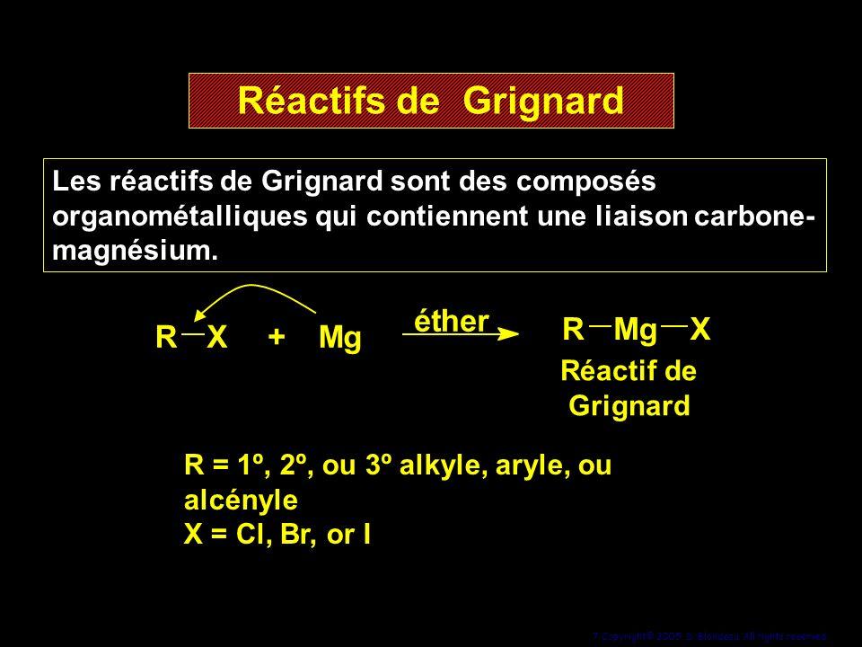 7 Copyright© 2005, D. Blondeau. All rights reserved. Réactifs de Grignard Les réactifs de Grignard sont des composés organométalliques qui contiennent