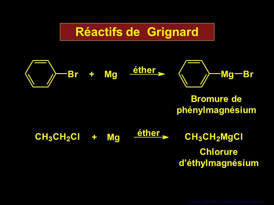 9 Copyright© 2005, D. Blondeau. All rights reserved. Br +Mg éther MgBr Bromure de phénylmagnésium +Mg éther CH 3 CH 2 ClCH 3 CH 2 MgCl Chlorure déthyl