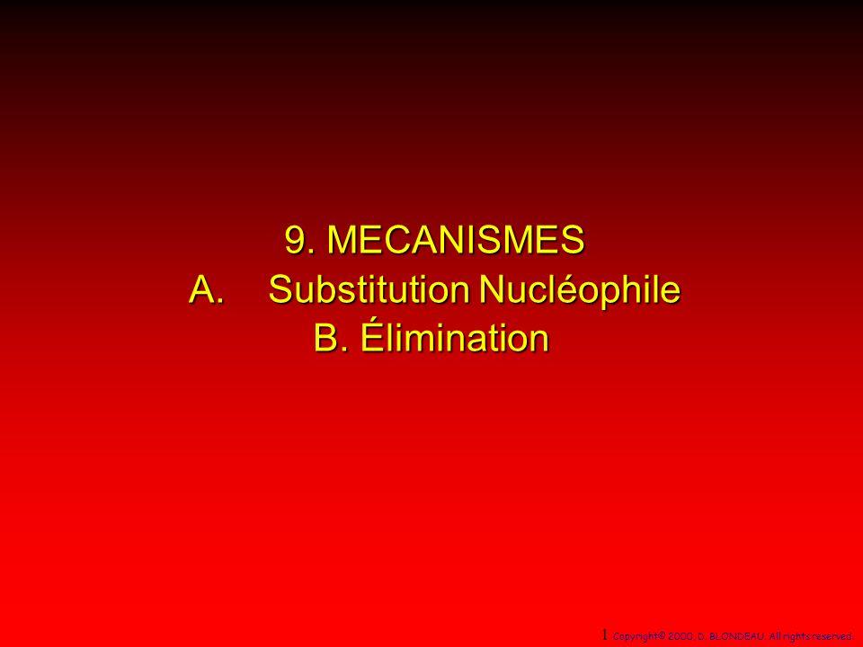 halogénure dalkyle secondaire + nucléophile base faible NaN 3 I (75%) N3N3N3N3 Un nucléophile faiblement basique accroît la réaction de substitution relativement à lélimination Un nucléophile faiblement basique accroît la réaction de substitution relativement à lélimination pK a (HN 3 ) = 4,6 112 Copyright© 2000, D.