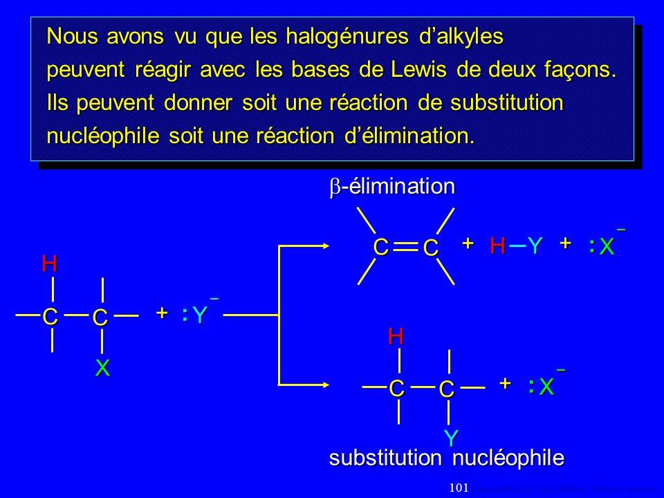 Nous avons vu que les halogénures dalkyles peuvent réagir avec les bases de Lewis de deux façons. Ils peuvent donner soit une réaction de substitution