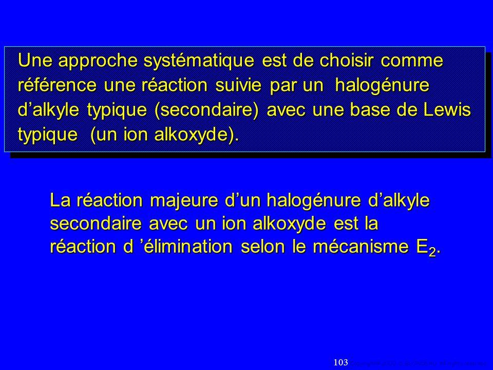 Une approche systématique est de choisir comme référence une réaction suivie par un halogénure dalkyle typique (secondaire) avec une base de Lewis typ