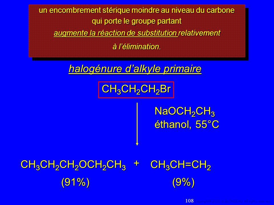 un encombrement stérique moindre au niveau du carbone qui porte le groupe partant augmente la réaction de substitution relativement à lélimination. au