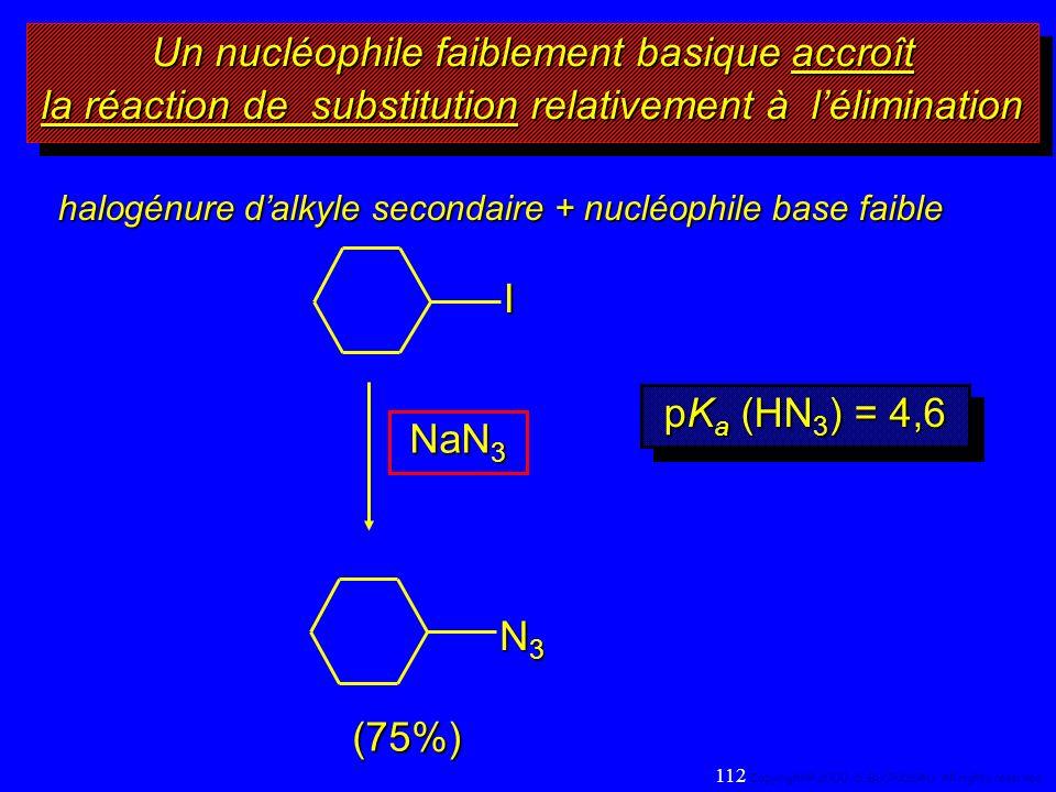 halogénure dalkyle secondaire + nucléophile base faible NaN 3 I (75%) N3N3N3N3 Un nucléophile faiblement basique accroît la réaction de substitution r