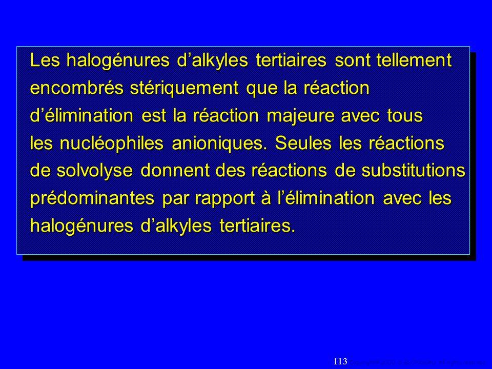 Les halogénures dalkyles tertiaires sont tellement encombrés stériquement que la réaction délimination est la réaction majeure avec tous les nucléophi