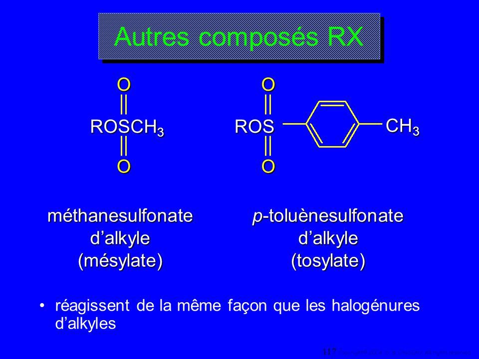 Autres composés RX ROSCH 3 OO ROSOO CH 3 méthanesulfonate dalkyle (mésylate) p-toluènesulfonate dalkyle (tosylate) réagissent de la même façon que les