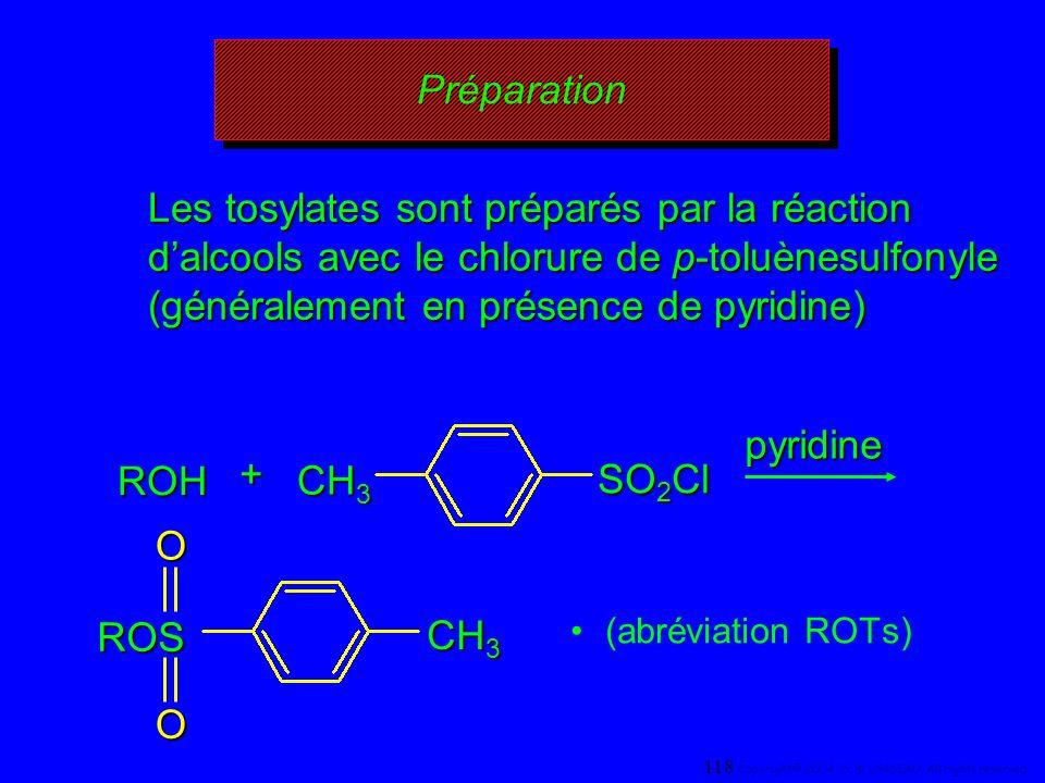 Préparation (abréviation ROTs) ROH + CH 3 SO 2 Cl pyridine ROSOO CH 3 Les tosylates sont préparés par la réaction dalcools avec le chlorure de p-toluè