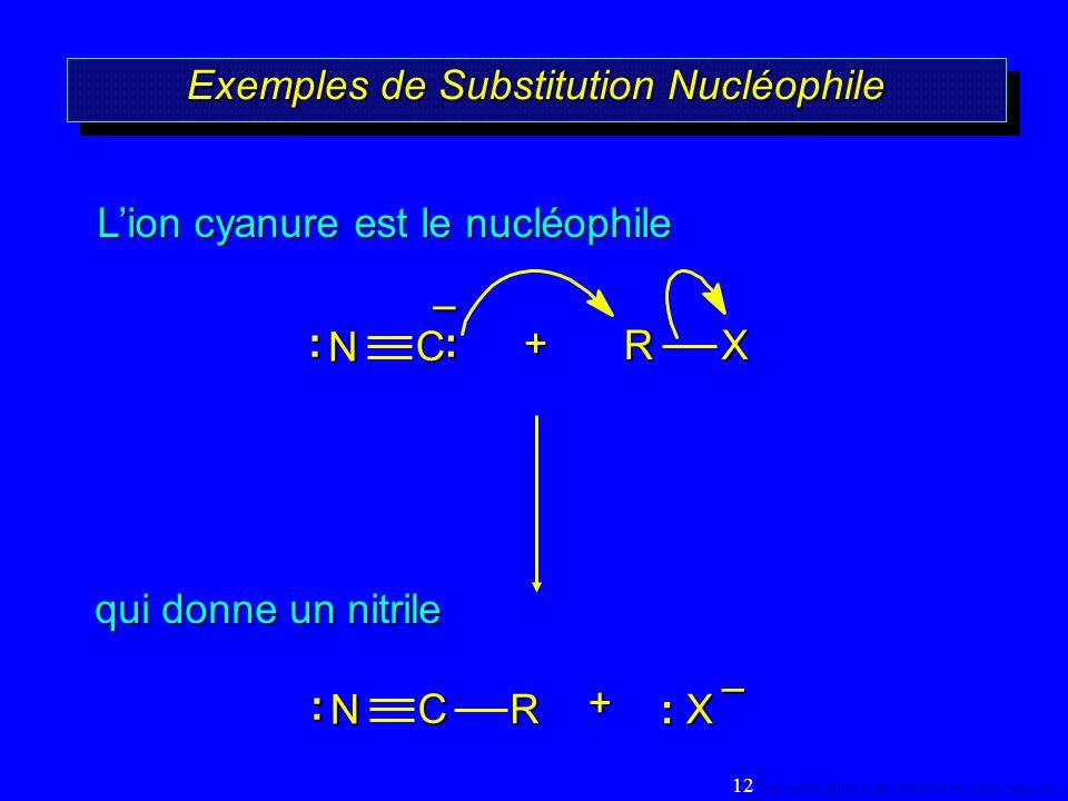 Exemples de Substitution Nucléophile +RX qui donne un nitrile Lion cyanure est le nucléophile – + : X R – C N:: C N: 12 Copyright© 2000, D. BLONDEAU.