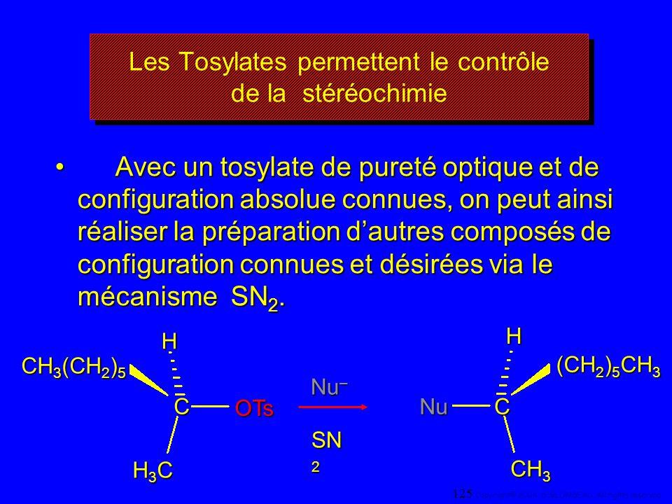 Les Tosylates permettent le contrôle de la stéréochimie Avec un tosylate de pureté optique et de configuration absolue connues, on peut ainsi réaliser