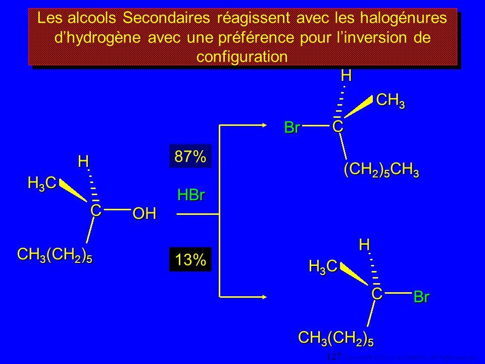 Les alcools Secondaires réagissent avec les halogénures dhydrogène avec une préférence pour linversion de configuration CH H3CH3CH3CH3C OH CH 3 (CH 2