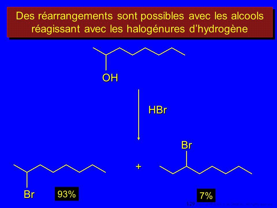 Des réarrangements sont possibles avec les alcools réagissant avec les halogénures dhydrogène OH Br Br+ 93% 7% HBr 129 Copyright© 2004, D. BLONDEAU. A