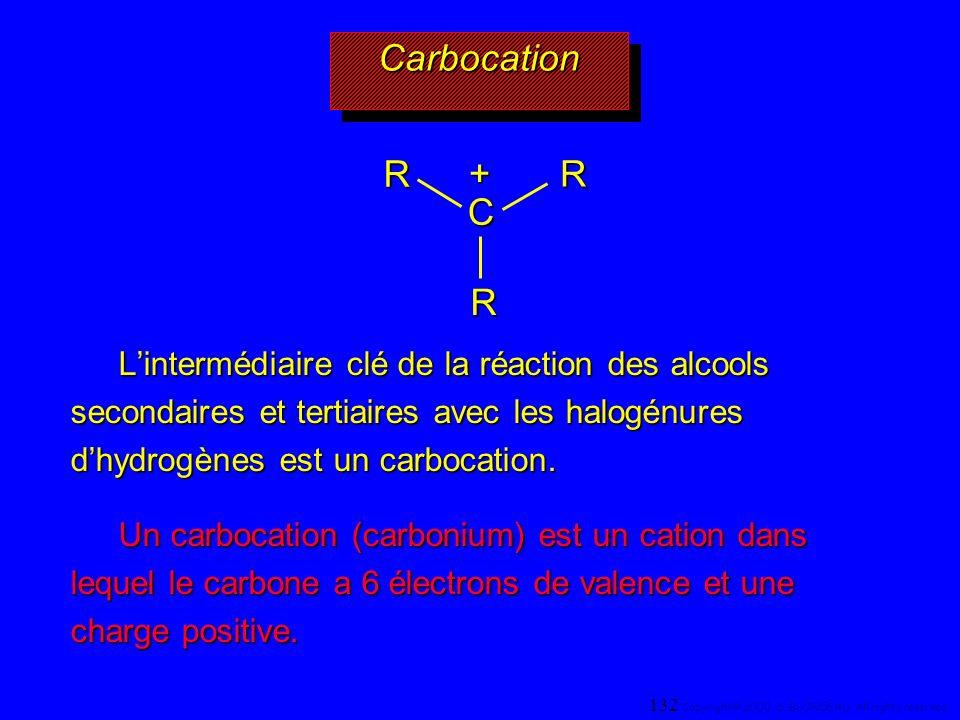 CarbocationCarbocation Lintermédiaire clé de la réaction des alcools secondaires et tertiaires avec les halogénures dhydrogènes est un carbocation. Un
