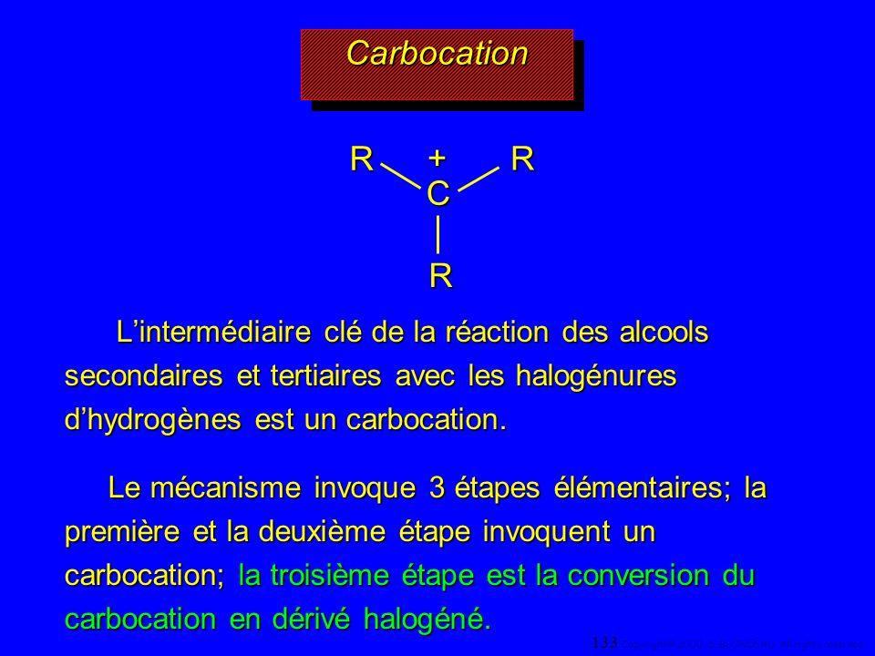 CarbocationCarbocation Lintermédiaire clé de la réaction des alcools secondaires et tertiaires avec les halogénures dhydrogènes est un carbocation. Li