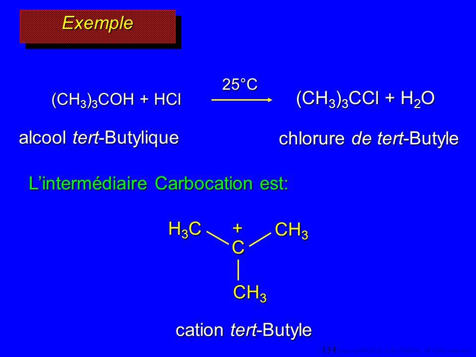 ExempleExemple (CH 3 ) 3 COH + HCl (CH 3 ) 3 CCl + H 2 O 25°C Lintermédiaire Carbocation est: C H3CH3CH3CH3C CH 3 + alcool tert-Butylique chlorure de