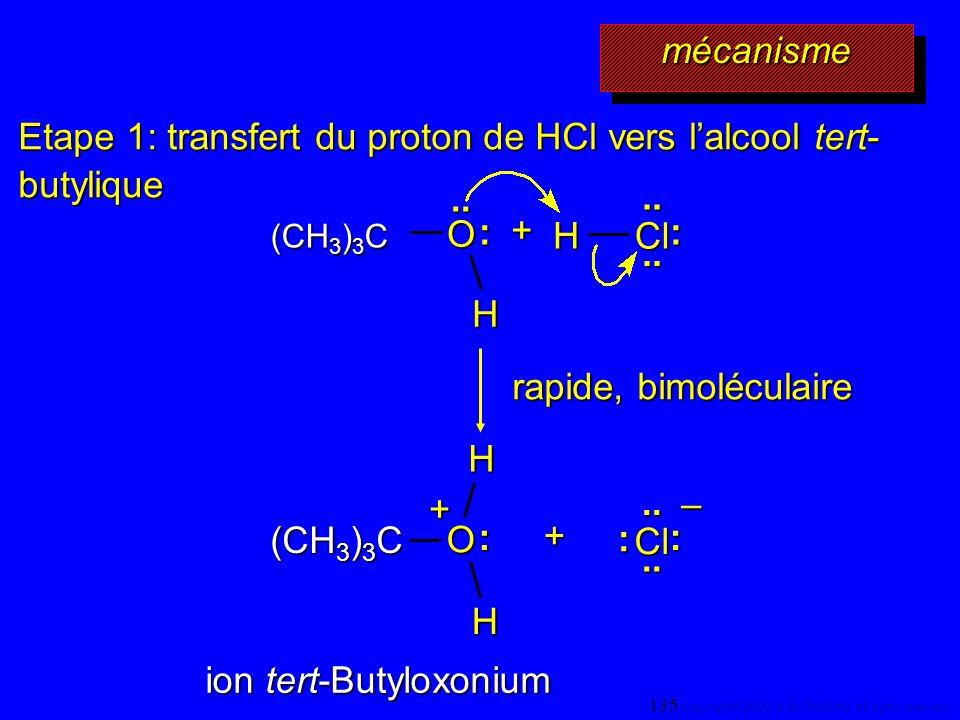 Etape 1: transfert du proton de HCl vers lalcool tert- butylique (CH 3 ) 3 C O H.. : H Cl :.... + H O : + HCl :.... : – + rapide, bimoléculaire ion te
