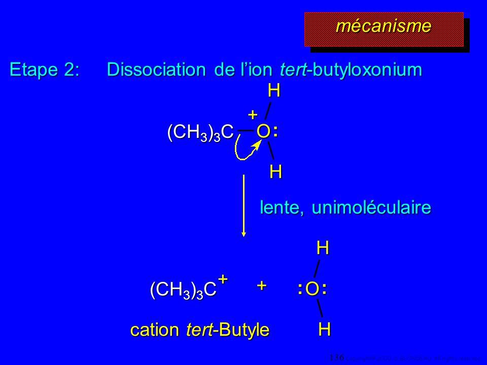 Etape 2: Dissociation de lion tert-butyloxonium + (CH 3 ) 3 C O H :H+ lente, unimoléculaire (CH 3 ) 3 C O H :H: cation tert-Butyle + mécanismemécanism