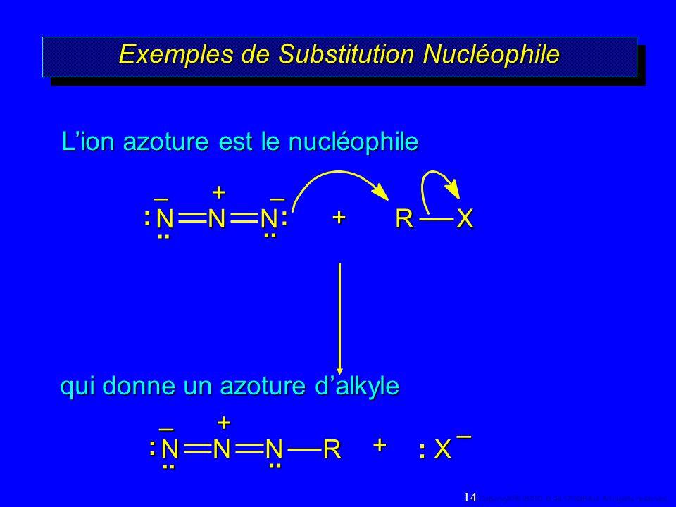 Exemples de Substitution Nucléophile +RX qui donne un azoture dalkyle Lion azoture est le nucléophile + : X R –.. – N N N.. : : –+.. N N N.. :–+ 14 Co