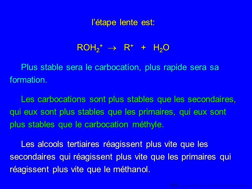 létape lente est: ROH 2 + R + + H 2 O Plus stable sera le carbocation, plus rapide sera sa formation. Les carbocations sont plus stables que les secon