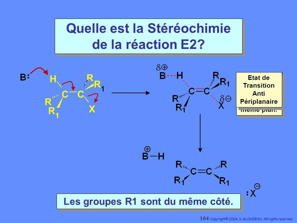 Quelle est la Stéréochimie de la réaction E2? CC H X R 1 R R 1 R Les groupes R1 sont du même côté. Les groupes R1 sont du même côté. Périplanaire : to
