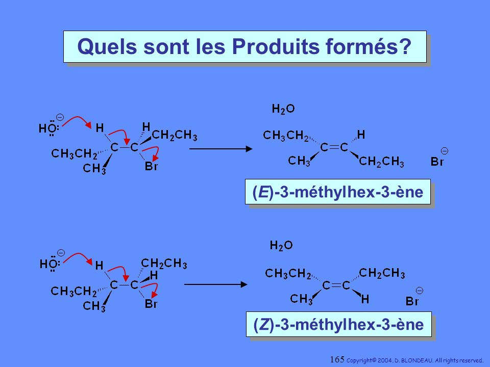 Quels sont les Produits formés? (E)-3-méthylhex-3-ène (E)-3-méthylhex-3-ène (Z)-3-méthylhex-3-ène (Z)-3-méthylhex-3-ène 165 Copyright© 2004, D. BLONDE