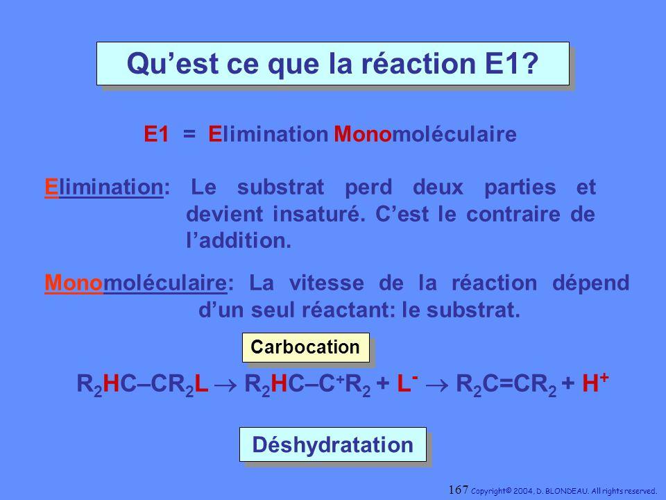 Quest ce que la réaction E1? E1 = Elimination Monomoléculaire Déshydratation Déshydratation R 2 HC–CR 2 L Monomoléculaire: La vitesse de la réaction d