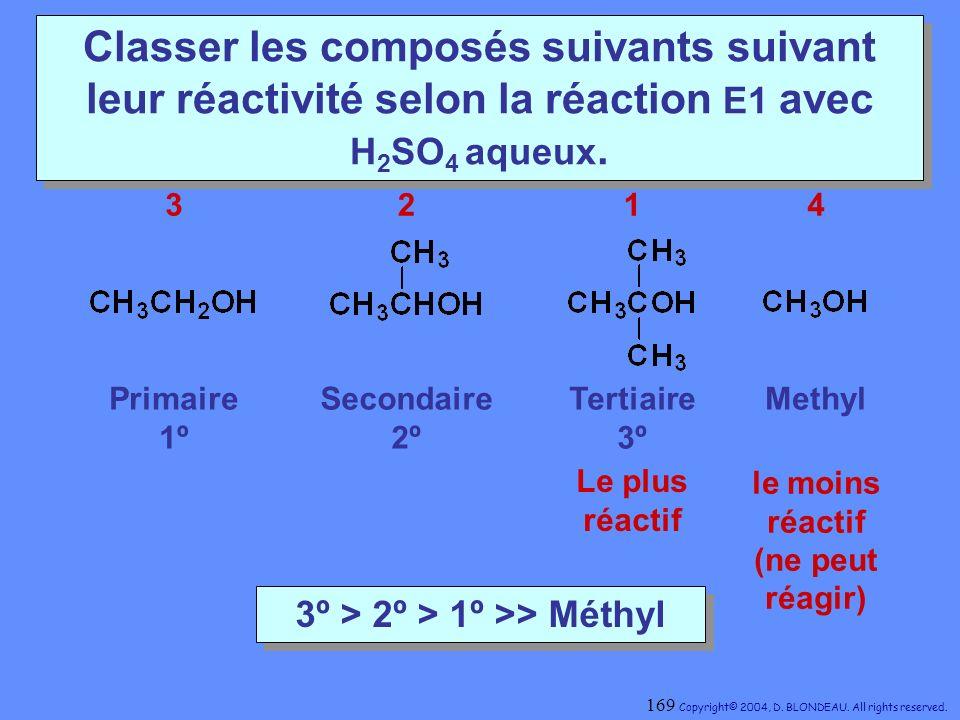 Classer les composés suivants suivant leur réactivité selon la réaction E1 avec H 2 SO 4 aqueux. Secondaire 2º Primaire 1º MethylTertiaire 3º 3º > 2º