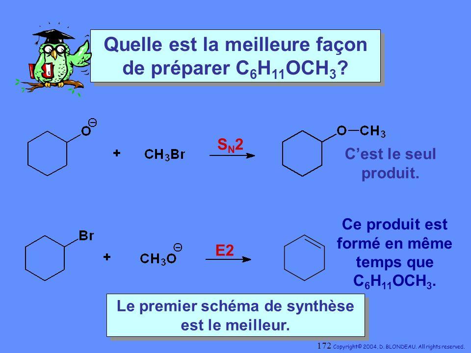 Quelle est la meilleure façon de préparer C 6 H 11 OCH 3 ? S N 2 E2 Cest le seul produit. Ce produit est formé en même temps que C 6 H 11 OCH 3. Le pr