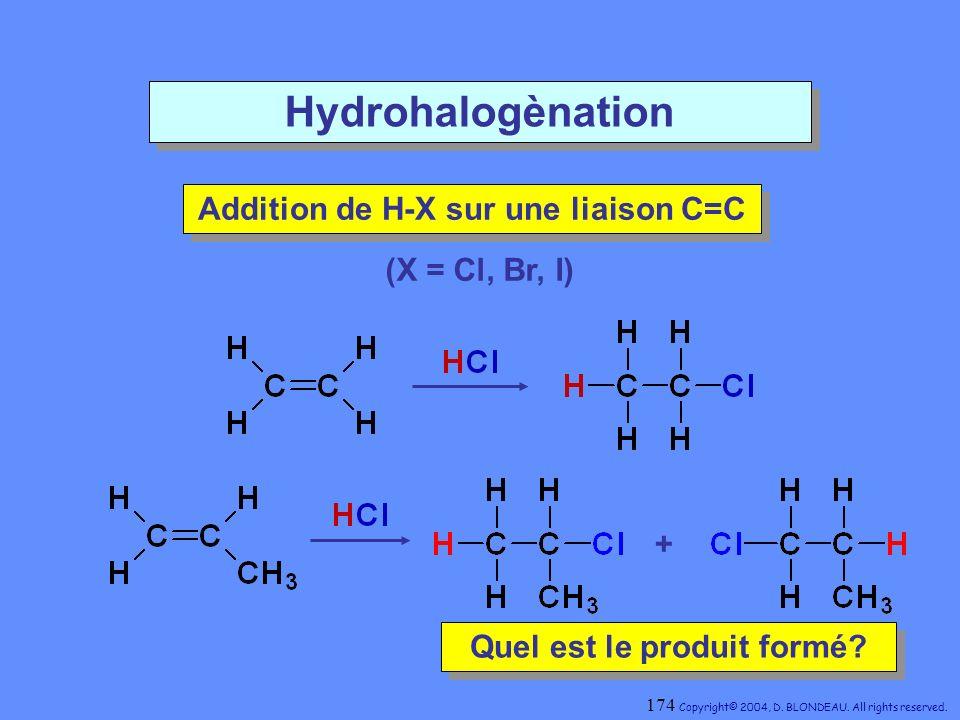 Hydrohalogènation (X = Cl, Br, I) Addition de H-X sur une liaison C=C Addition de H-X sur une liaison C=C Quel est le produit formé? Quel est le produ