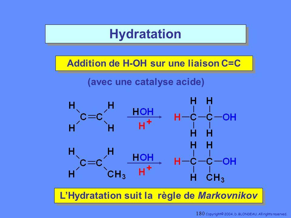 Hydratation Addition de H-OH sur une liaison C=C Addition de H-OH sur une liaison C=C LHydratation suit la règle de Markovnikov LHydratation suit la r