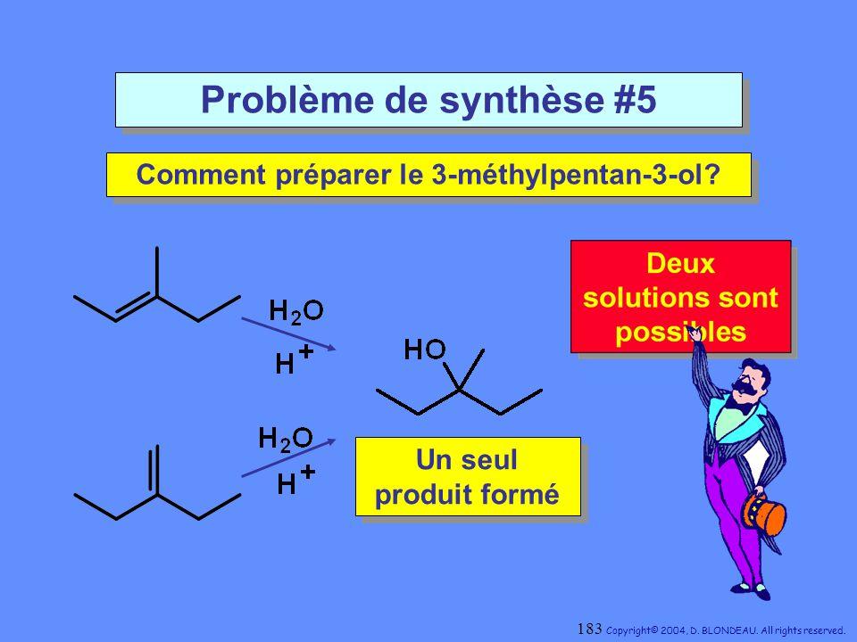 Problème de synthèse #5 Comment préparer le 3-méthylpentan-3-ol? Comment préparer le 3-méthylpentan-3-ol? Un seul produit formé Un seul produit formé