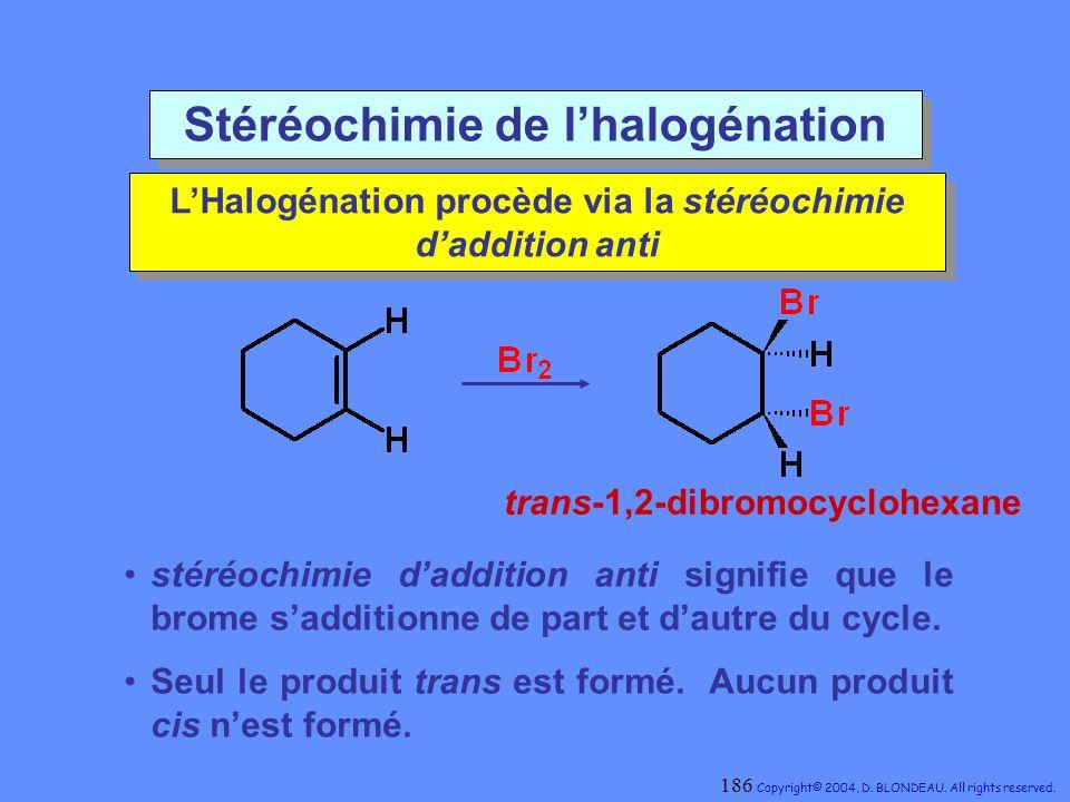 Stéréochimie de lhalogénation LHalogénation procède via la stéréochimie daddition anti LHalogénation procède via la stéréochimie daddition anti stéréo