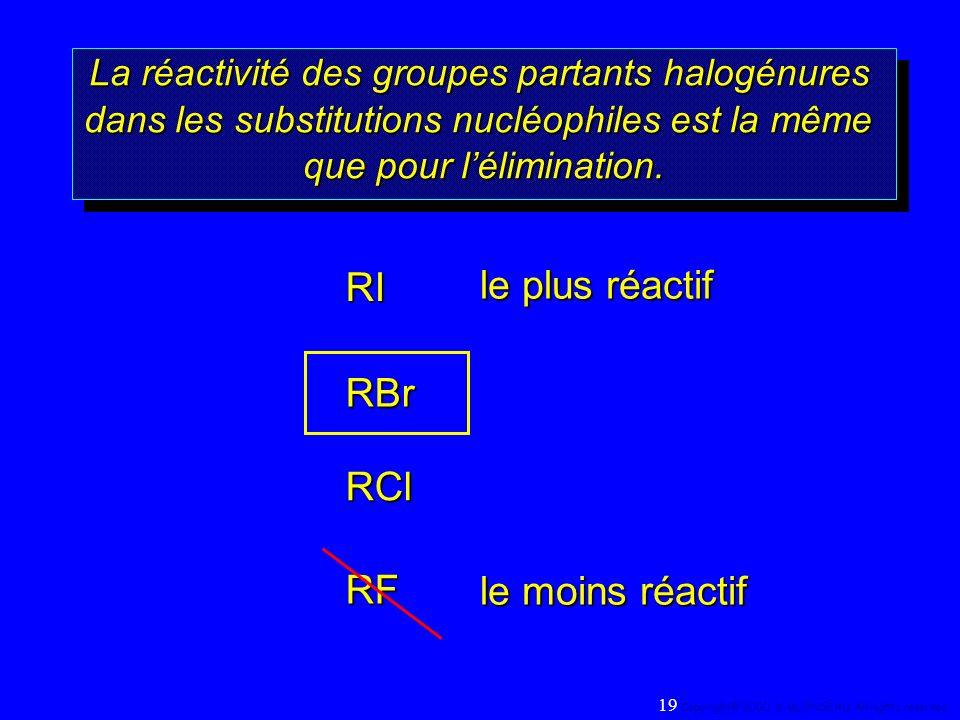 La réactivité des groupes partants halogénures dans les substitutions nucléophiles est la même que pour lélimination. La réactivité des groupes partan