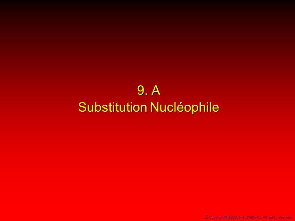 + SolvolyseSolvolyse substitution par un nucléophile anionique RX + :Nu RX + :Nu RNu + :X RNu + :X solvolyse RX + :NuH RNuH + :X RNuH + :X RNu + HX produits de la réaction 53 Copyright© 2000, D.
