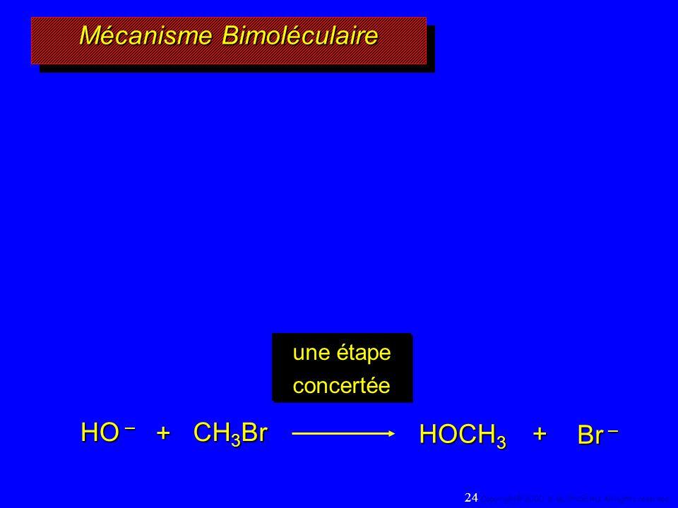 Mécanisme Bimoléculaire HO – CH 3 Br + HOCH 3 Br – + une étape concertée 24 Copyright© 2000, D. BLONDEAU. All rights reserved.