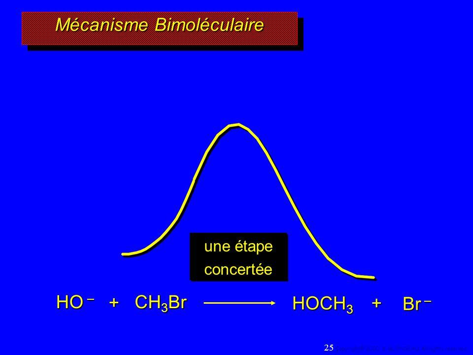 Mécanisme Bimoléculaire HO – CH 3 Br + HOCH 3 Br – + une étape concertée 25 Copyright© 2000, D. BLONDEAU. All rights reserved.