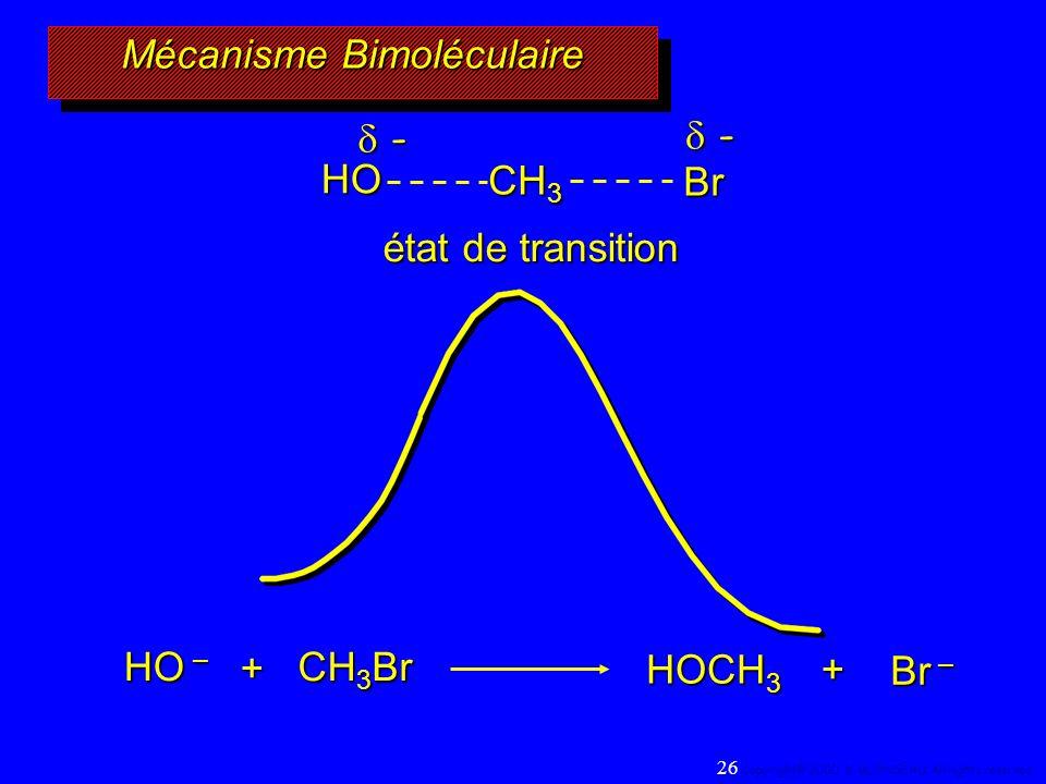 Mécanisme Bimoléculaire HO – CH 3 Br + HOCH 3 Br – + HO CH 3 Br - - état de transition 26 Copyright© 2000, D. BLONDEAU. All rights reserved.