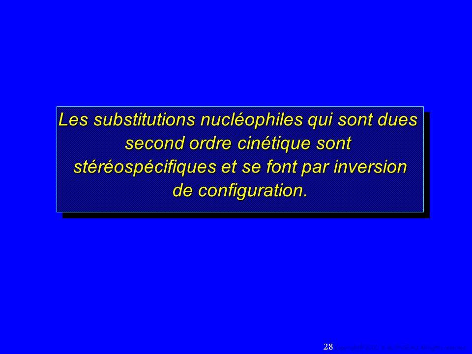 Les substitutions nucléophiles qui sont dues second ordre cinétique sont stéréospécifiques et se font par inversion de configuration. Les substitution