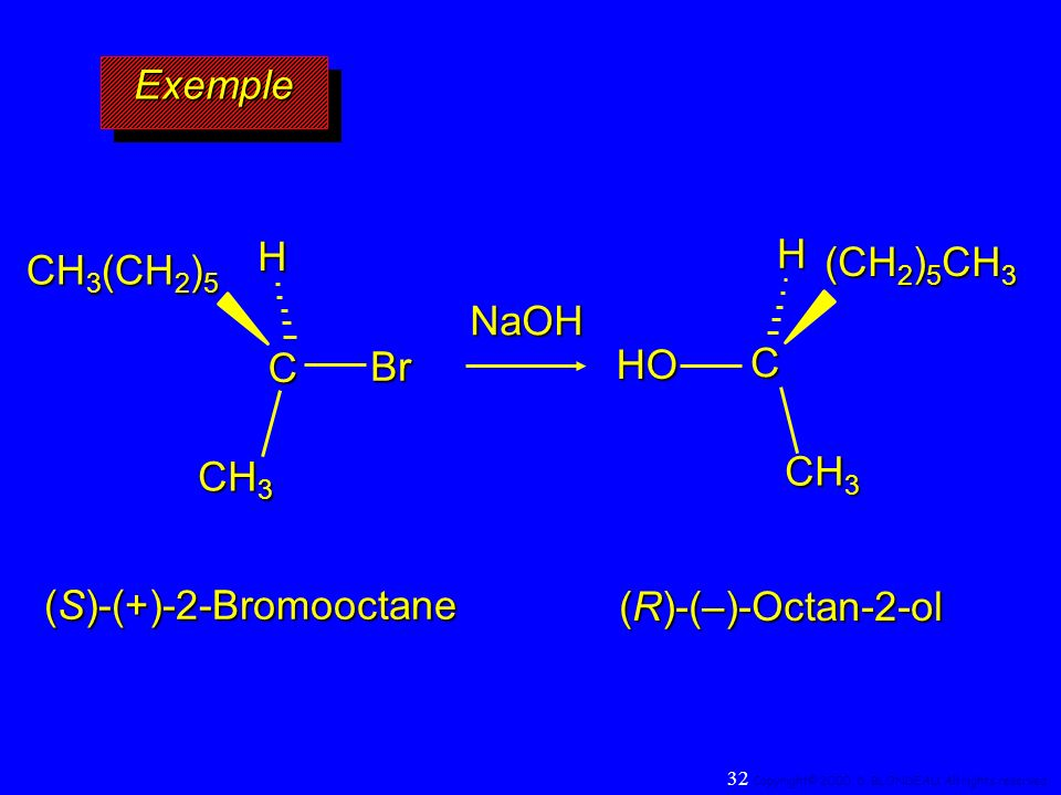 ExempleExemple CH CH 3 Br CH 3 (CH 2 ) 5 CH CH 3 HO (CH 2 ) 5 CH 3 NaOH (S)-(+)-2-Bromooctane (R)-(–)-Octan-2-ol 32 Copyright© 2000, D. BLONDEAU. All