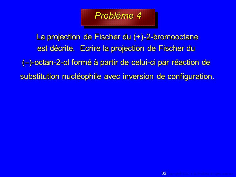 Problème 4 La projection de Fischer du (+)-2-bromooctane est décrite. Ecrire la projection de Fischer du (–)-octan-2-ol formé à partir de celui-ci par
