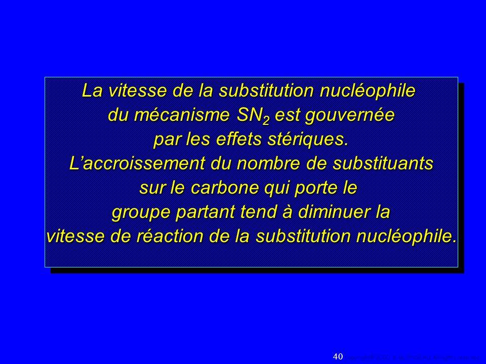 La vitesse de la substitution nucléophile du mécanisme SN 2 est gouvernée par les effets stériques. Laccroissement du nombre de substituants sur le ca