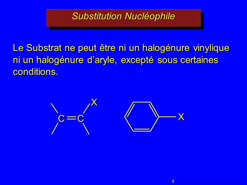 Caractéristiques du mécanisme SN 1 1er ordre cinétique: vitesse = k[RX] étape déterminante monomoléculaire intermédiaire carbocation la vitesse est fonction de la stabilité du carbocation des réarrangements sont parfois observés la réaction nest pas stéréospécifique On observe la racémisation dans les réactions faisant intervenir des composés optiquement actifs 76 Copyright© 2000, D.